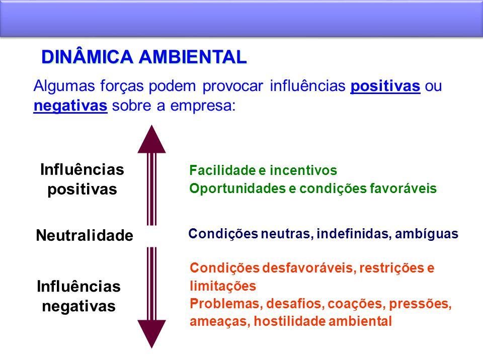 DINÂMICA AMBIENTAL Influências negativas Condições desfavoráveis, restrições e limitações Problemas, desafios, coações, pressões, ameaças, hostilidade