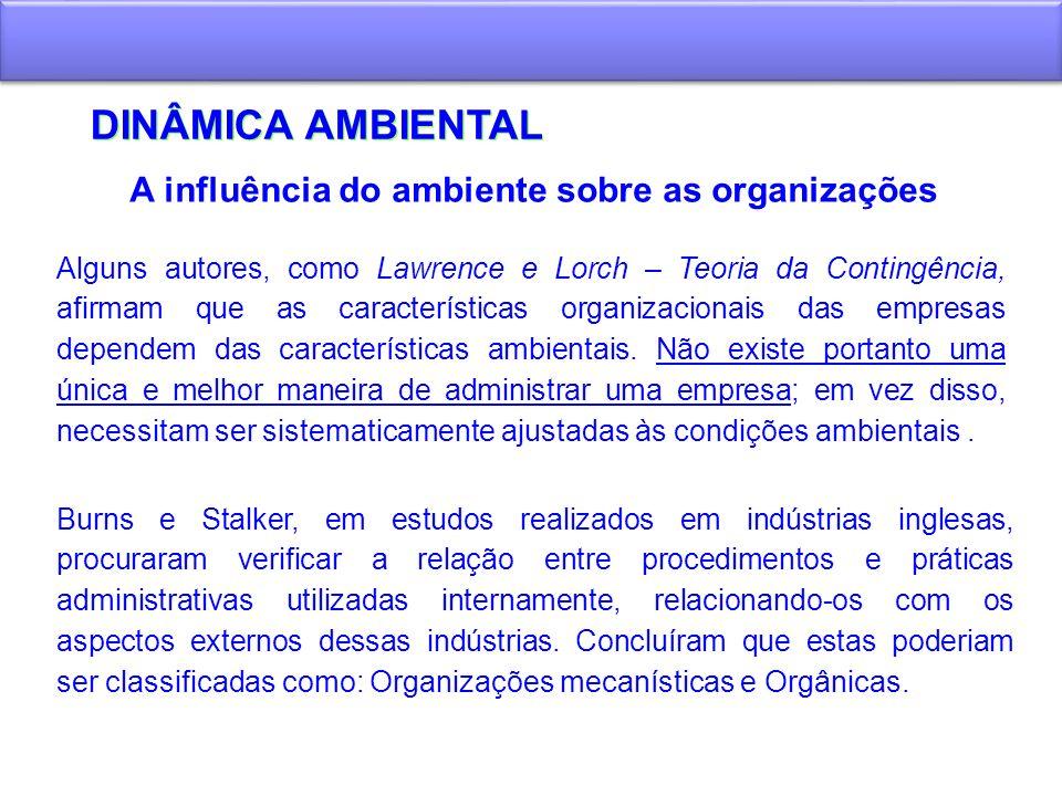 DINÂMICA AMBIENTAL A influência do ambiente sobre as organizações Alguns autores, como Lawrence e Lorch – Teoria da Contingência, afirmam que as carac