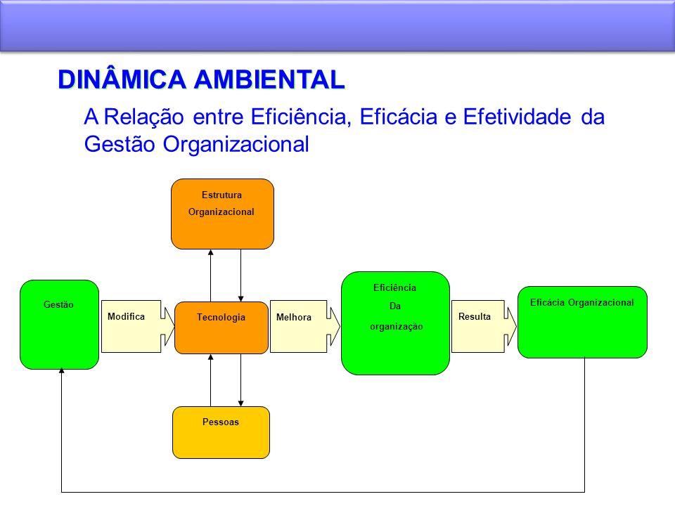DINÂMICA AMBIENTAL Gestão Modifica Estrutura Organizacional Tecnologia Pessoas Melhora Eficiência Da organização Resulta Eficácia Organizacional A Rel