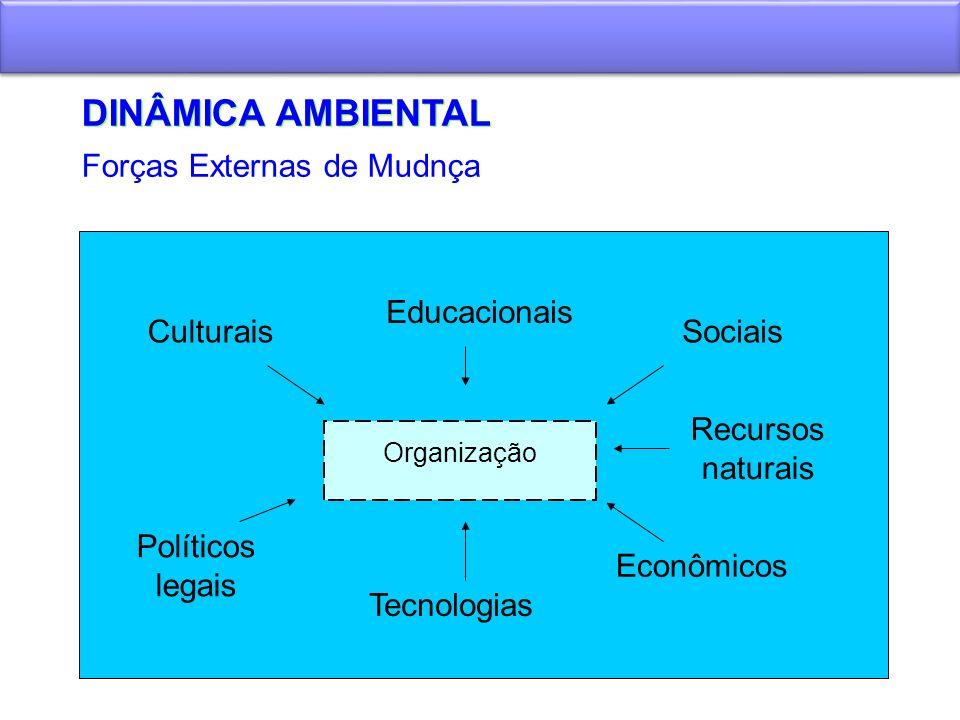 DINÂMICA AMBIENTAL Organização Educacionais CulturaisSociais Políticos legais Recursos naturais Tecnologias Econômicos Forças Externas de Mudnça