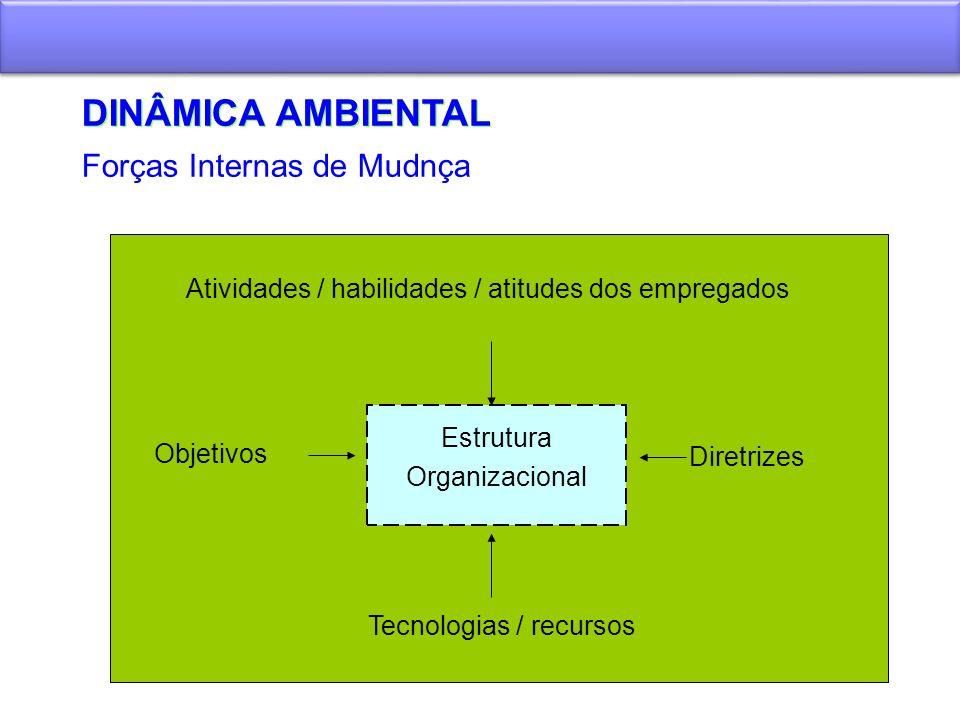 DINÂMICA AMBIENTAL Forças Internas de Mudnça Estrutura Organizacional Objetivos Diretrizes Tecnologias / recursos Atividades / habilidades / atitudes
