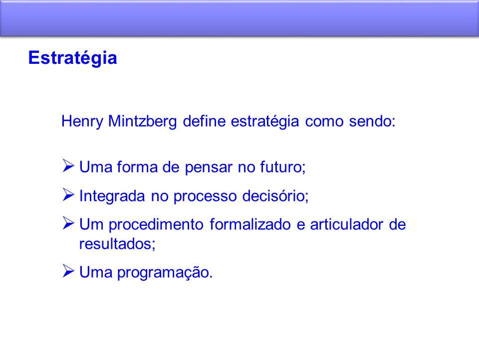 Estratégia Henry Mintzberg define estratégia como sendo: Uma forma de pensar no futuro; Integrada no processo decisório; Um procedimento formalizado e