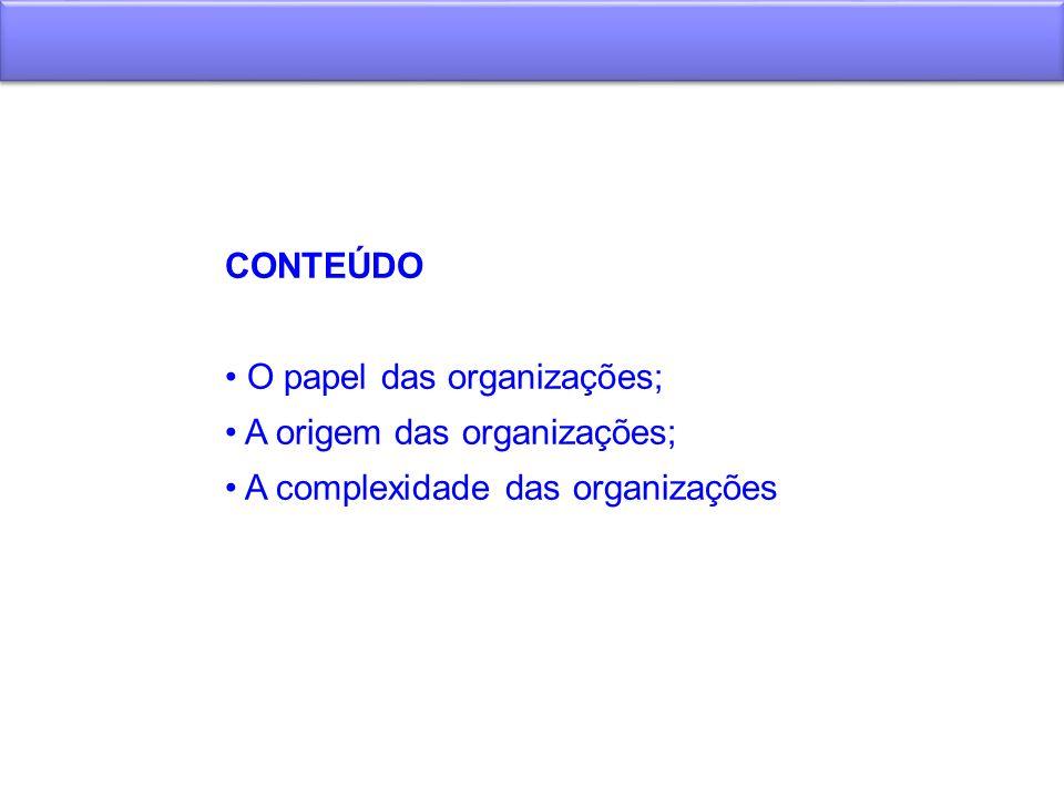 CONTEÚDO O papel das organizações; A origem das organizações; A complexidade das organizações