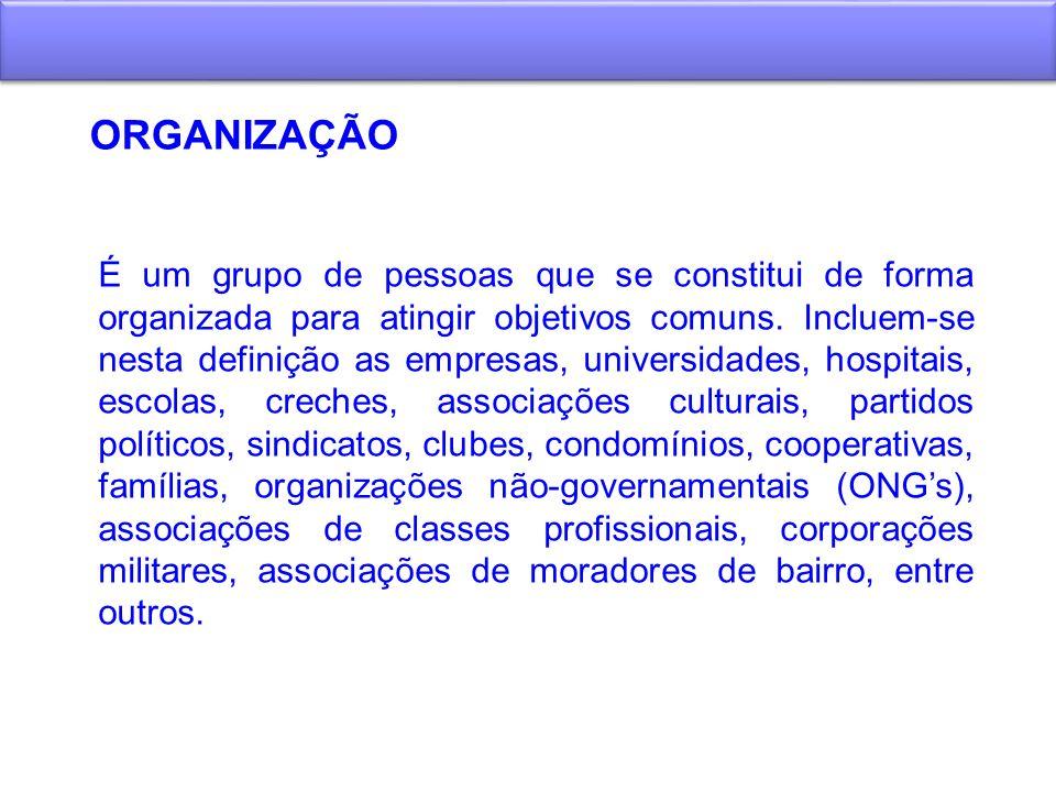 ORGANIZAÇÃO É um grupo de pessoas que se constitui de forma organizada para atingir objetivos comuns. Incluem-se nesta definição as empresas, universi