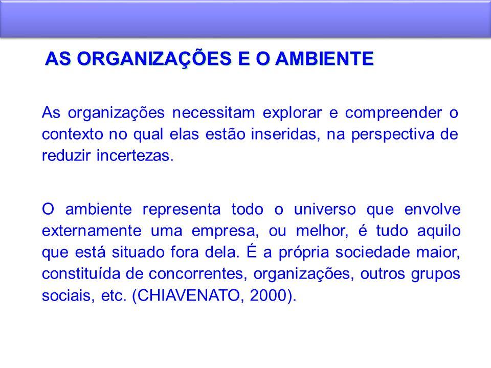 DINÂMICA AMBIENTAL A influência do ambiente sobre as organizações Alguns autores, como Lawrence e Lorch – Teoria da Contingência, afirmam que as características organizacionais das empresas dependem das características ambientais.