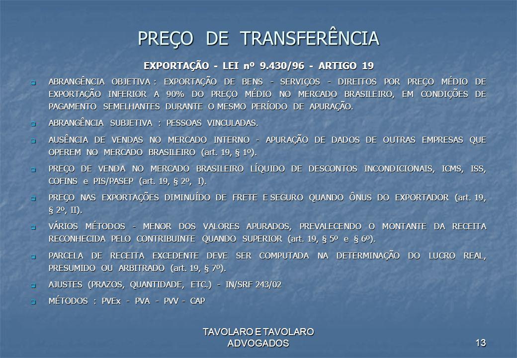 TAVOLARO E TAVOLARO ADVOGADOS13 PREÇO DE TRANSFERÊNCIA EXPORTAÇÃO - LEI nº 9.430/96 - ARTIGO 19 ABRANGÊNCIA OBJETIVA : EXPORTAÇÃO DE BENS - SERVIÇOS -