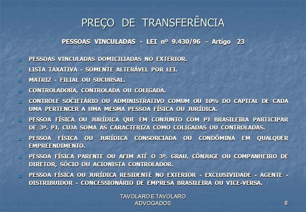 TAVOLARO E TAVOLARO ADVOGADOS8 PREÇO DE TRANSFERÊNCIA PESSOAS VINCULADAS - LEI nº 9.430/96 - Artigo 23 PESSOAS VINCULADAS DOMICILIADAS NO EXTERIOR. PE