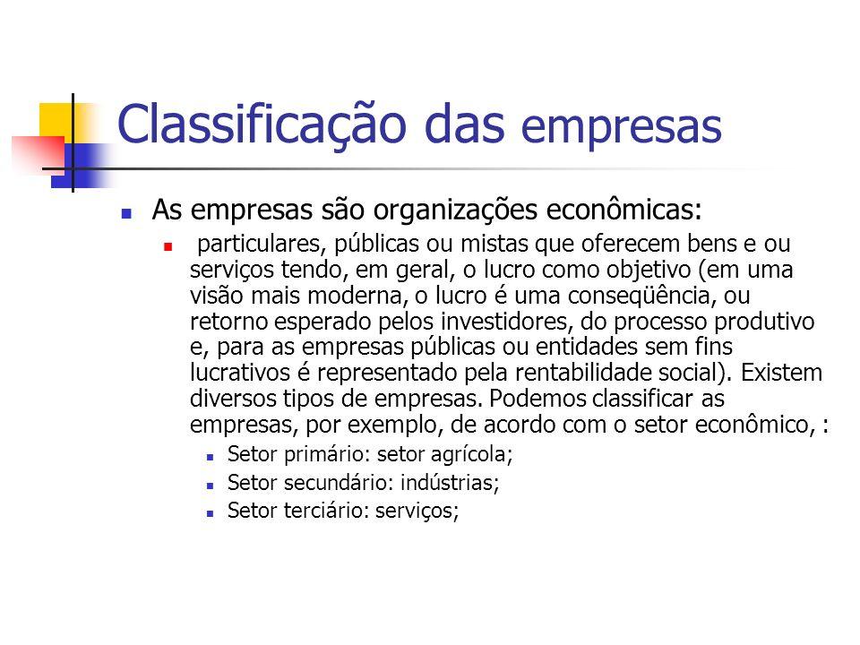 Classificação das empresas As empresas são organizações econômicas: particulares, públicas ou mistas que oferecem bens e ou serviços tendo, em geral,