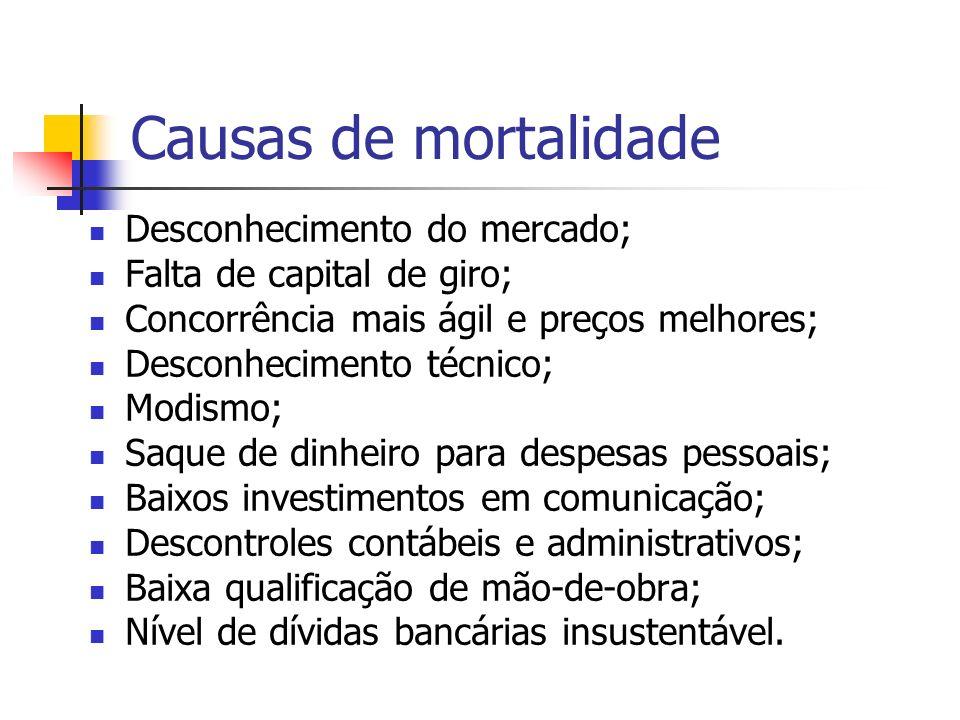 Causas de mortalidade Desconhecimento do mercado; Falta de capital de giro; Concorrência mais ágil e preços melhores; Desconhecimento técnico; Modismo