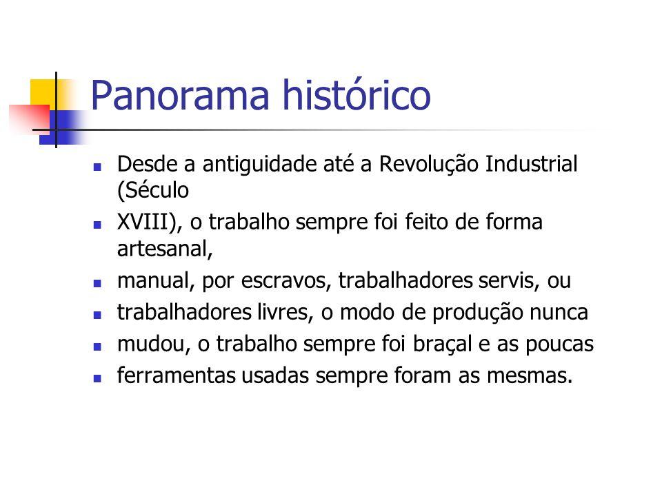 Panorama histórico Desde a antiguidade até a Revolução Industrial (Século XVIII), o trabalho sempre foi feito de forma artesanal, manual, por escravos
