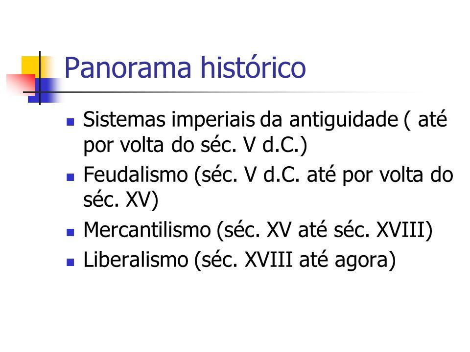 Panorama histórico Sistemas imperiais da antiguidade ( até por volta do séc. V d.C.) Feudalismo (séc. V d.C. até por volta do séc. XV) Mercantilismo (