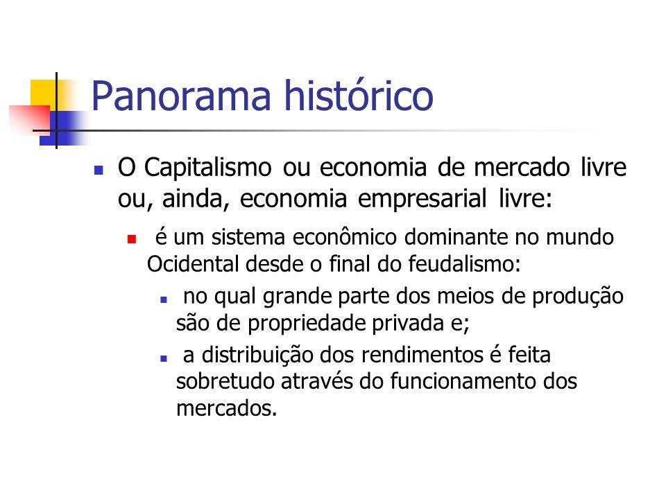 Panorama histórico O Capitalismo ou economia de mercado livre ou, ainda, economia empresarial livre: é um sistema econômico dominante no mundo Ocident