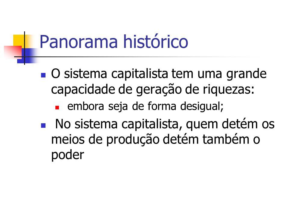 Panorama histórico O sistema capitalista tem uma grande capacidade de geração de riquezas: embora seja de forma desigual; No sistema capitalista, quem