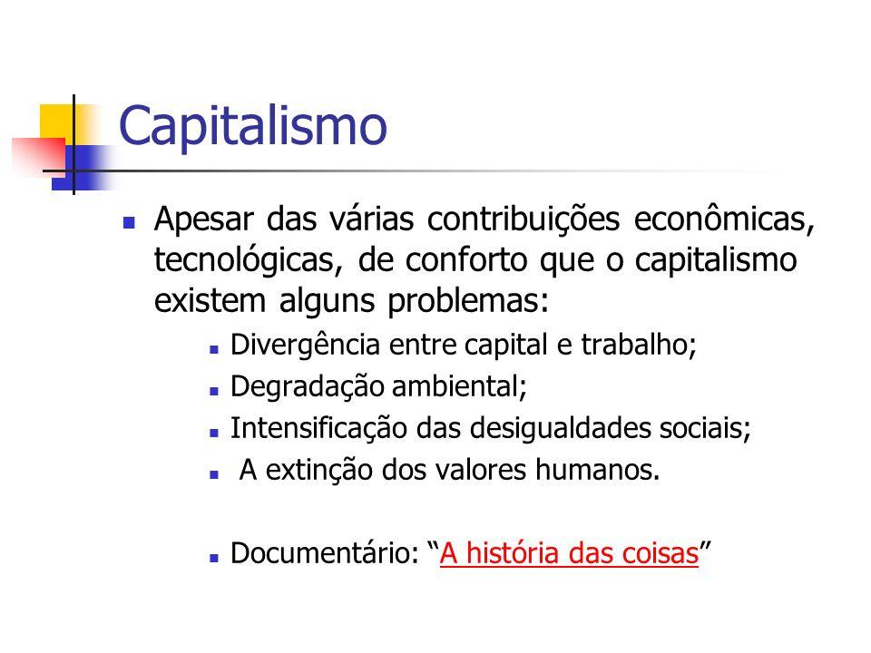 Capitalismo Apesar das várias contribuições econômicas, tecnológicas, de conforto que o capitalismo existem alguns problemas: Divergência entre capita