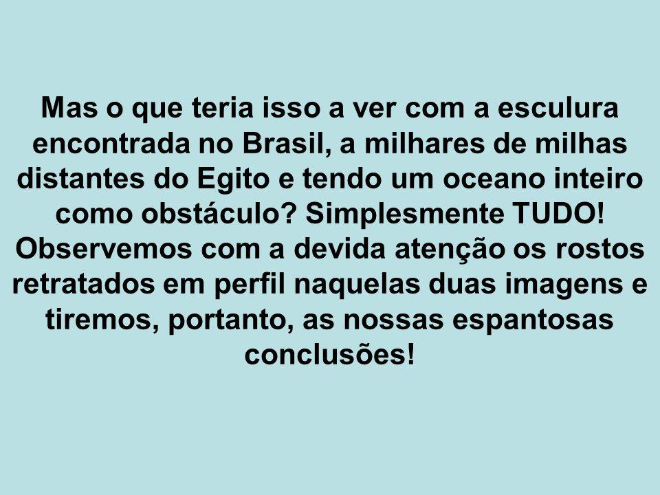 Mas o que teria isso a ver com a esculura encontrada no Brasil, a milhares de milhas distantes do Egito e tendo um oceano inteiro como obstáculo? Simp