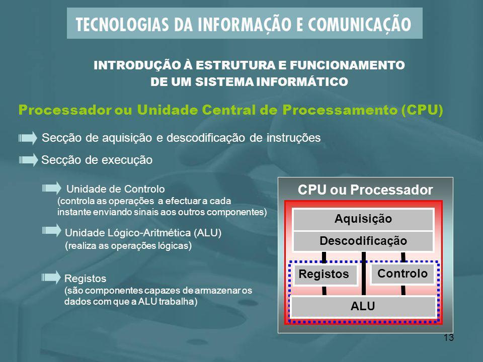 13 CPU ou Processador Aquisição Descodificação Processador ou Unidade Central de Processamento (CPU) Secção de execução Unidade Lógico-Aritmética (ALU