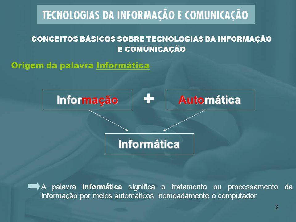 3 A palavra Informática significa o tratamento ou processamento da informação por meios automáticos, nomeadamente o computador CONCEITOS BÁSICOS SOBRE