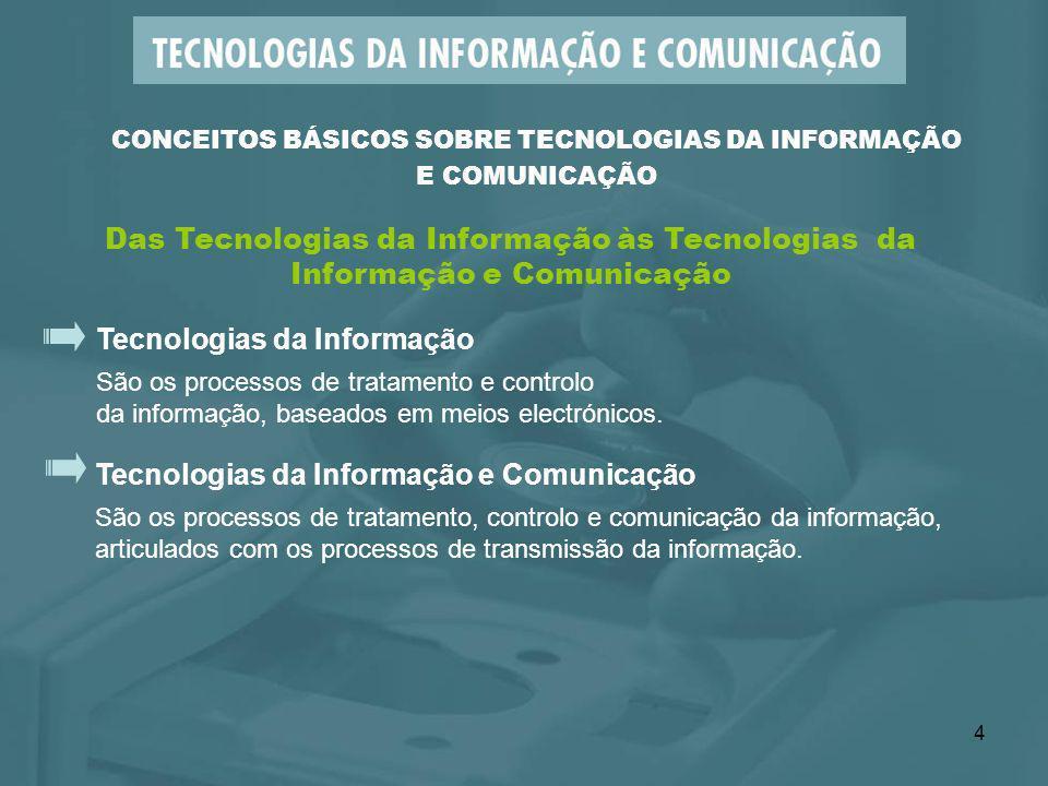 4 Tecnologias da Informação São os processos de tratamento e controlo da informação, baseados em meios electrónicos. Tecnologias da Informação e Comun