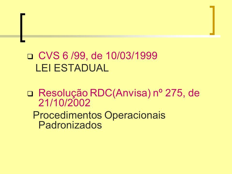 CVS 6 /99, de 10/03/1999 LEI ESTADUAL Resolução RDC(Anvisa) nº 275, de 21/10/2002 Procedimentos Operacionais Padronizados