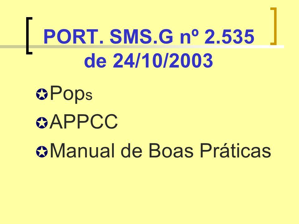 PORT. SMS.G nº 2.535 de 24/10/2003 Pop s APPCC Manual de Boas Práticas