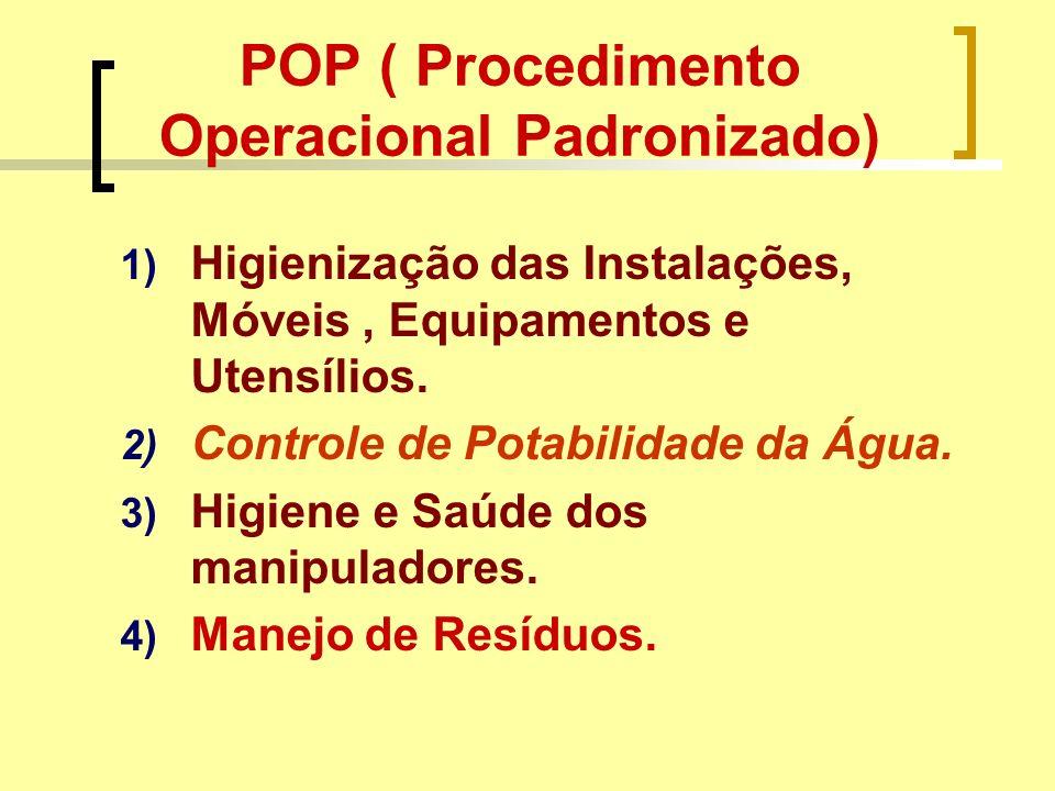 POP ( Procedimento Operacional Padronizado) 1) Higienização das Instalações, Móveis, Equipamentos e Utensílios. 2) Controle de Potabilidade da Água. 3