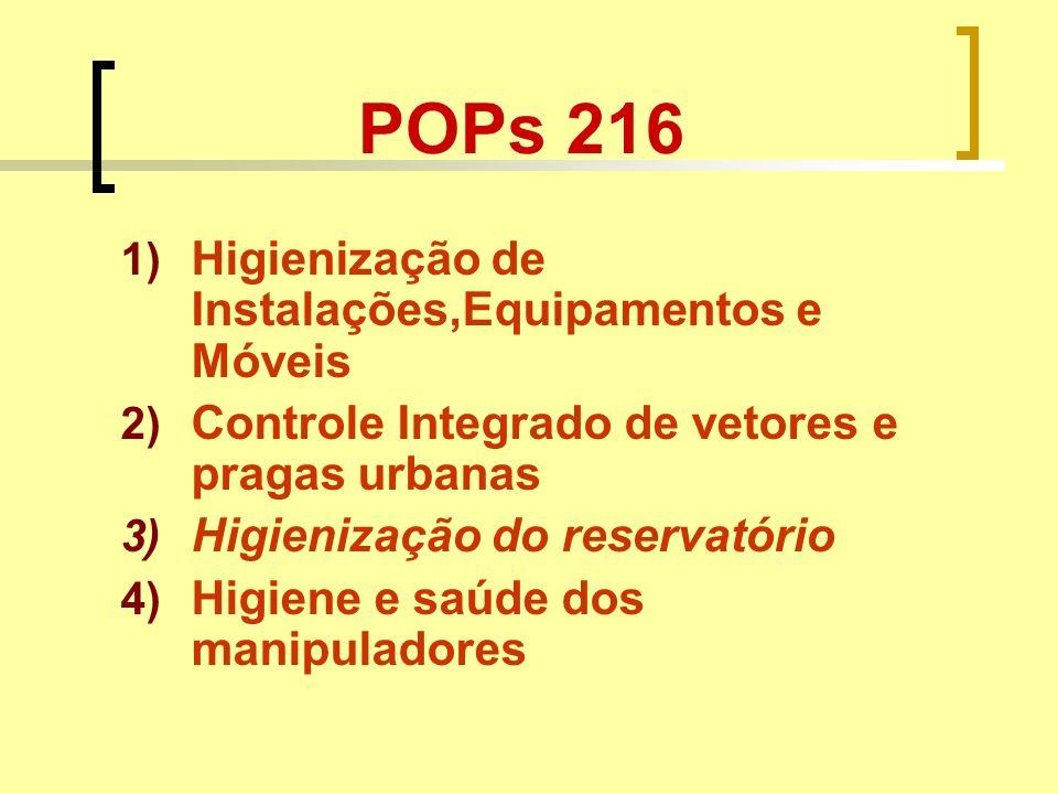 POPs 216 1) Higienização de Instalações,Equipamentos e Móveis 2) Controle Integrado de vetores e pragas urbanas 3) Higienização do reservatório 4) Hig