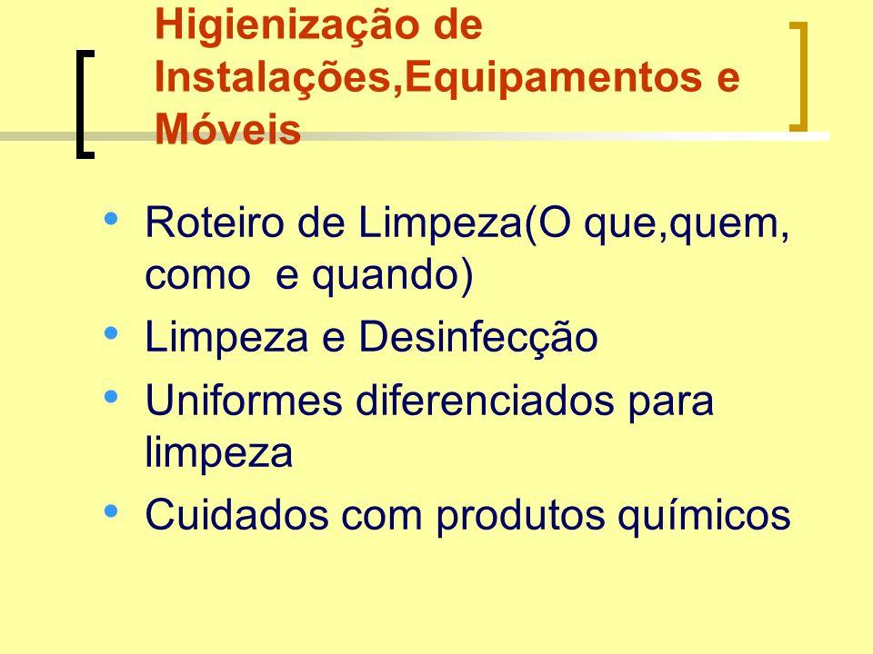 Higienização de Instalações,Equipamentos e Móveis Roteiro de Limpeza(O que,quem, como e quando) Limpeza e Desinfecção Uniformes diferenciados para lim