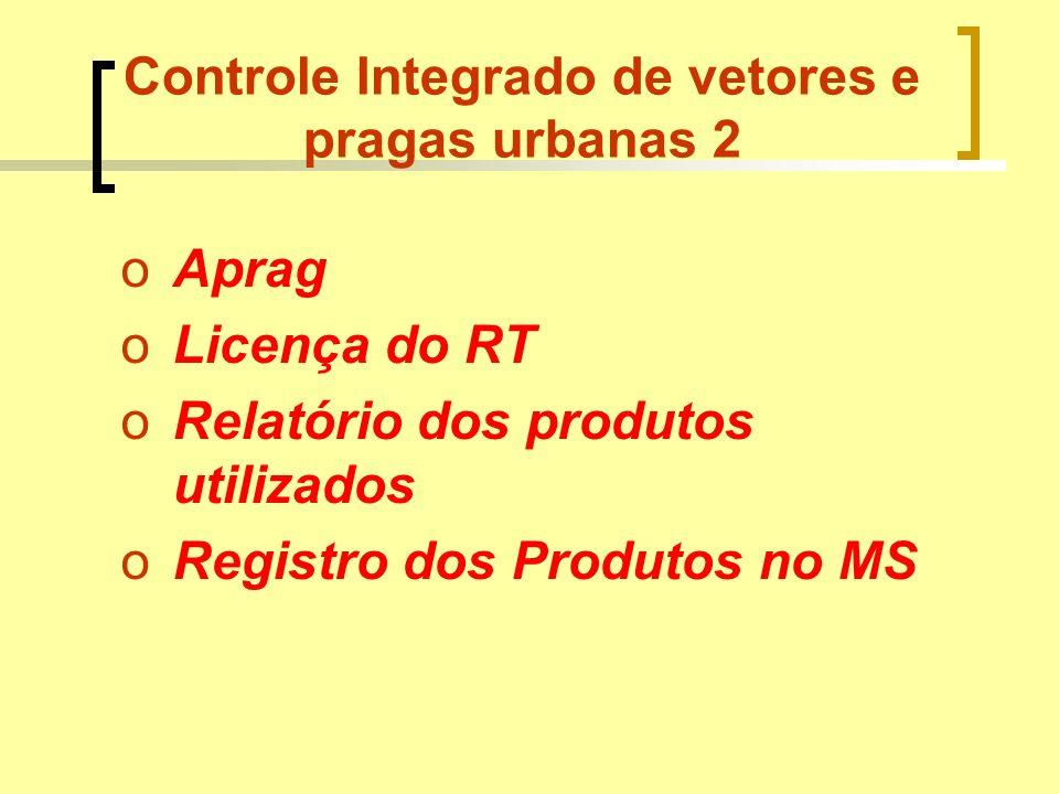 Controle Integrado de vetores e pragas urbanas 2 oAprag oLicença do RT oRelatório dos produtos utilizados oRegistro dos Produtos no MS