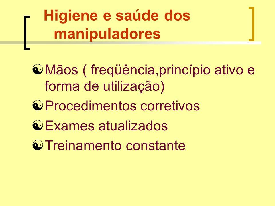 Higiene e saúde dos manipuladores Mãos ( freqüência,princípio ativo e forma de utilização) Procedimentos corretivos Exames atualizados Treinamento con