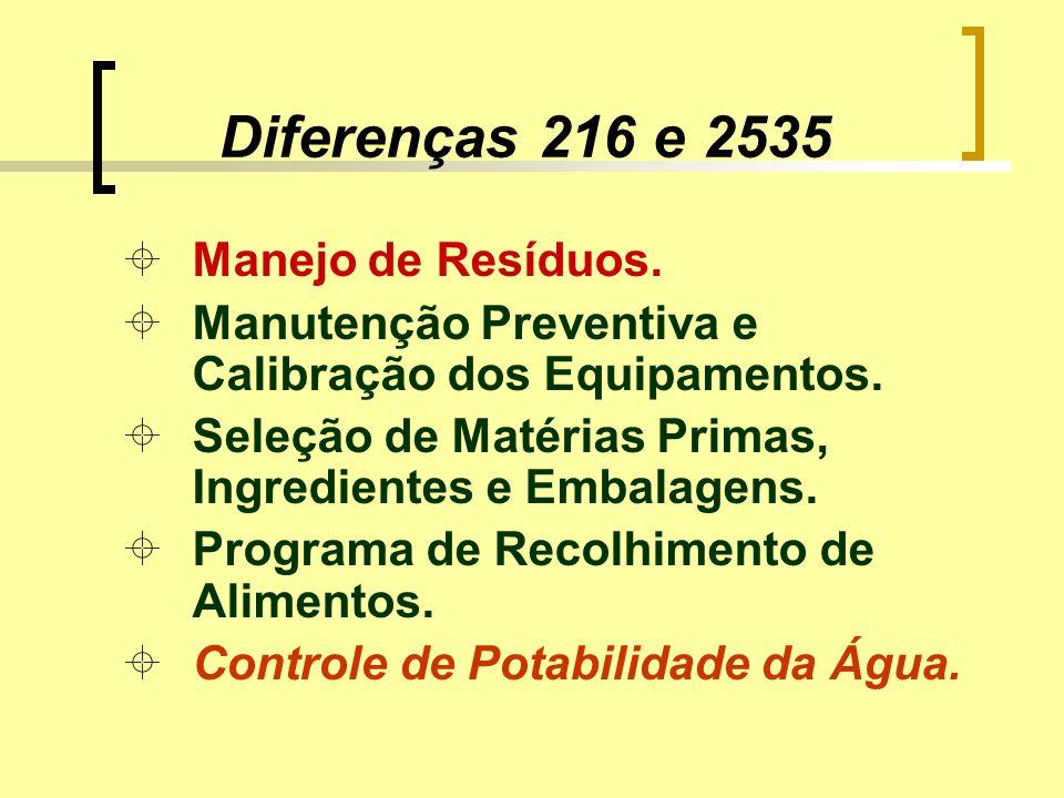 Diferenças 216 e 2535 ±Manejo de Resíduos. ±Manutenção Preventiva e Calibração dos Equipamentos. ±Seleção de Matérias Primas, Ingredientes e Embalagen