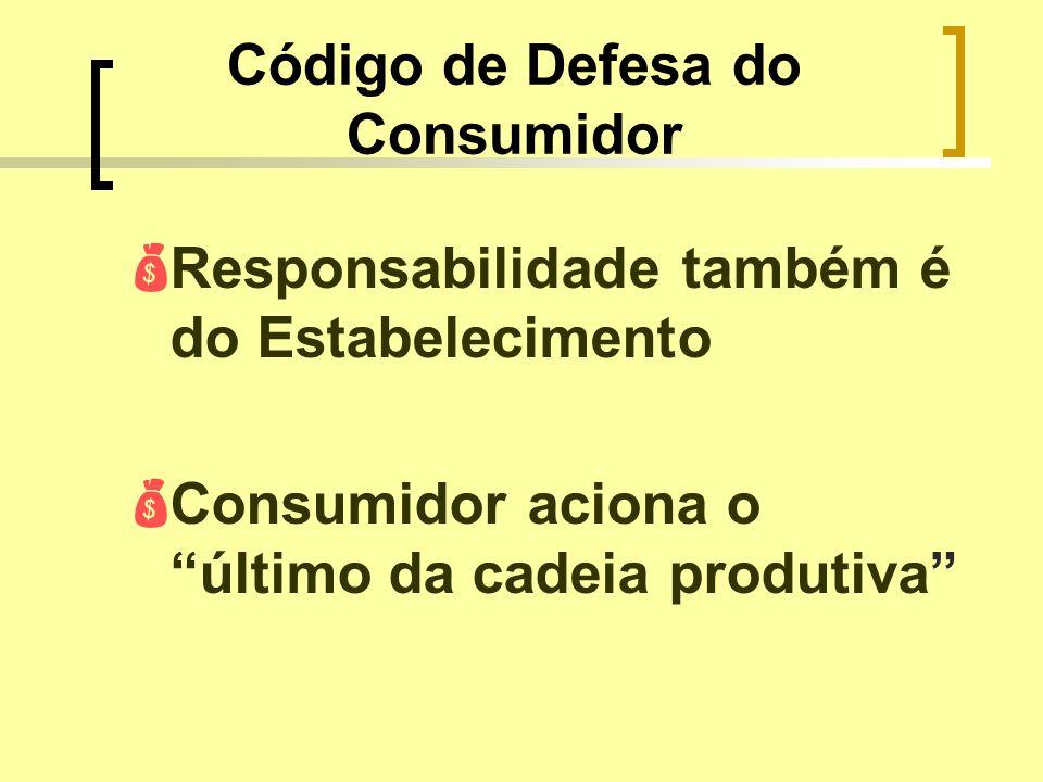 Código de Defesa do Consumidor Responsabilidade também é do Estabelecimento Consumidor aciona o último da cadeia produtiva