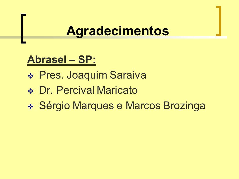 Agradecimentos Abrasel – SP: Pres. Joaquim Saraiva Dr. Percival Maricato Sérgio Marques e Marcos Brozinga