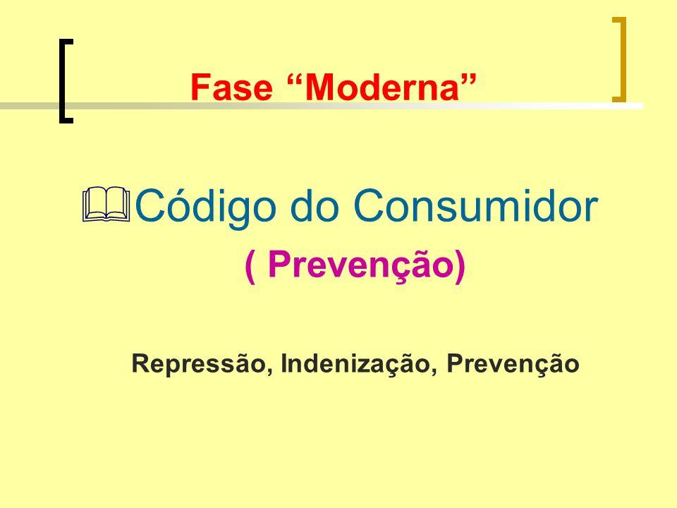 Fase Moderna Código do Consumidor ( Prevenção) Repressão, Indenização, Prevenção