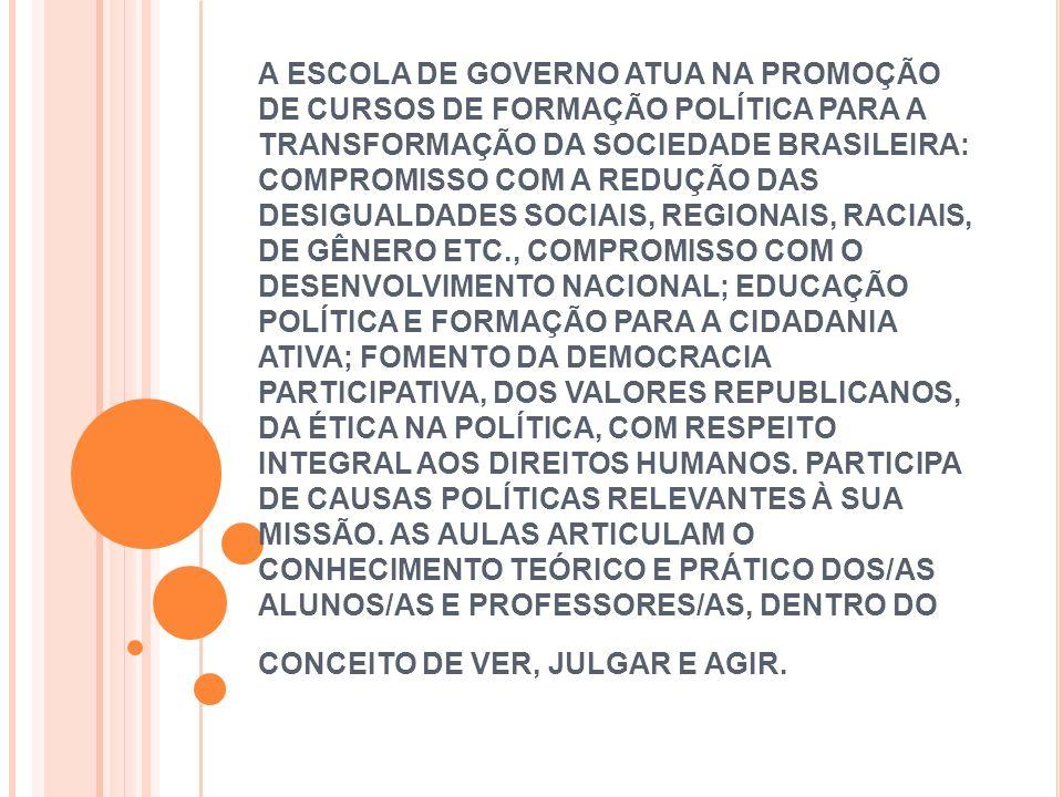 A ESCOLA DE GOVERNO ATUA NA PROMOÇÃO DE CURSOS DE FORMAÇÃO POLÍTICA PARA A TRANSFORMAÇÃO DA SOCIEDADE BRASILEIRA: COMPROMISSO COM A REDUÇÃO DAS DESIGU