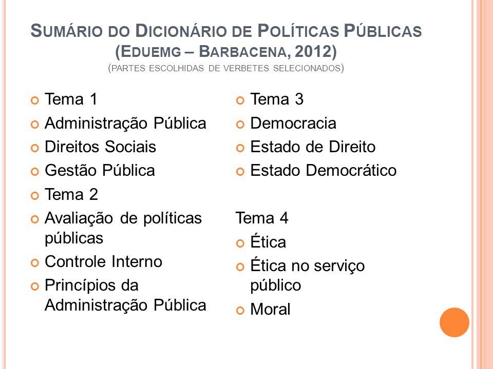 S UMÁRIO DO D ICIONÁRIO DE P OLÍTICAS P ÚBLICAS (E DUEMG – B ARBACENA, 2012) ( PARTES ESCOLHIDAS DE VERBETES SELECIONADOS ) Tema 1 Administração Públi