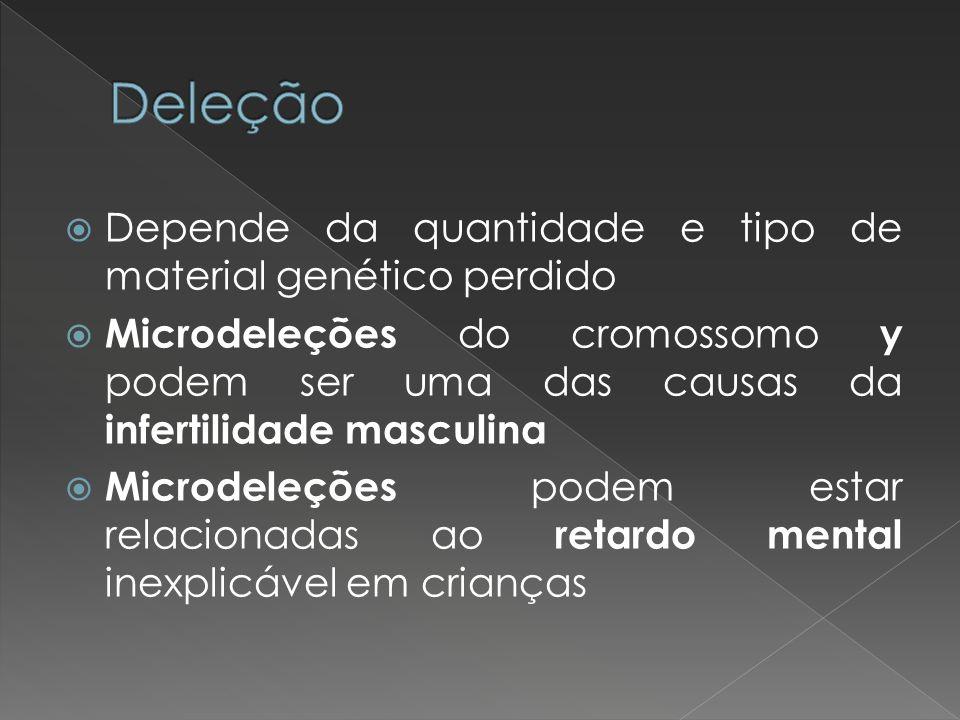 Depende da quantidade e tipo de material genético perdido Microdeleções do cromossomo y podem ser uma das causas da infertilidade masculina Microdeleç