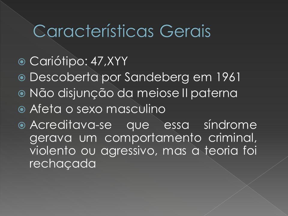 Cariótipo: 47,XYY Descoberta por Sandeberg em 1961 Não disjunção da meiose II paterna Afeta o sexo masculino Acreditava-se que essa síndrome gerava um