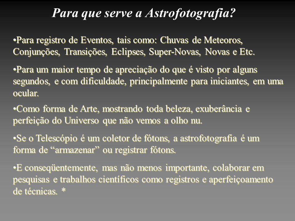 Para que serve a Astrofotografia? E conseqüentemente, mas não menos importante, colaborar em pesquisas e trabalhos científicos como registros e aperfe