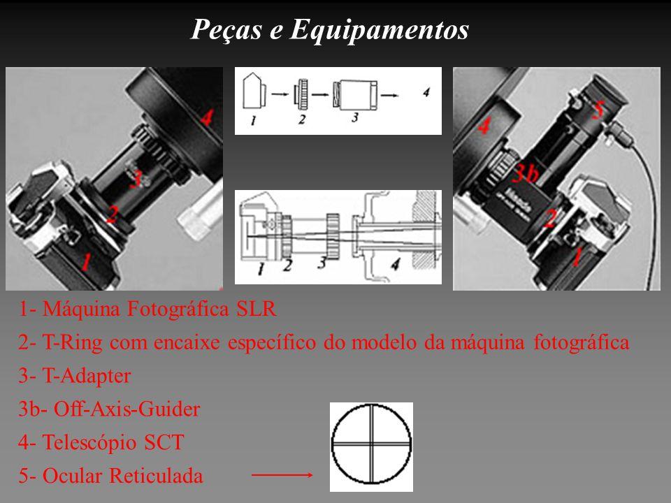 Peças e Equipamentos 5- Ocular Reticulada 4- Telescópio SCT 3b- Off-Axis-Guider 3- T-Adapter 2- T-Ring com encaixe específico do modelo da máquina fot