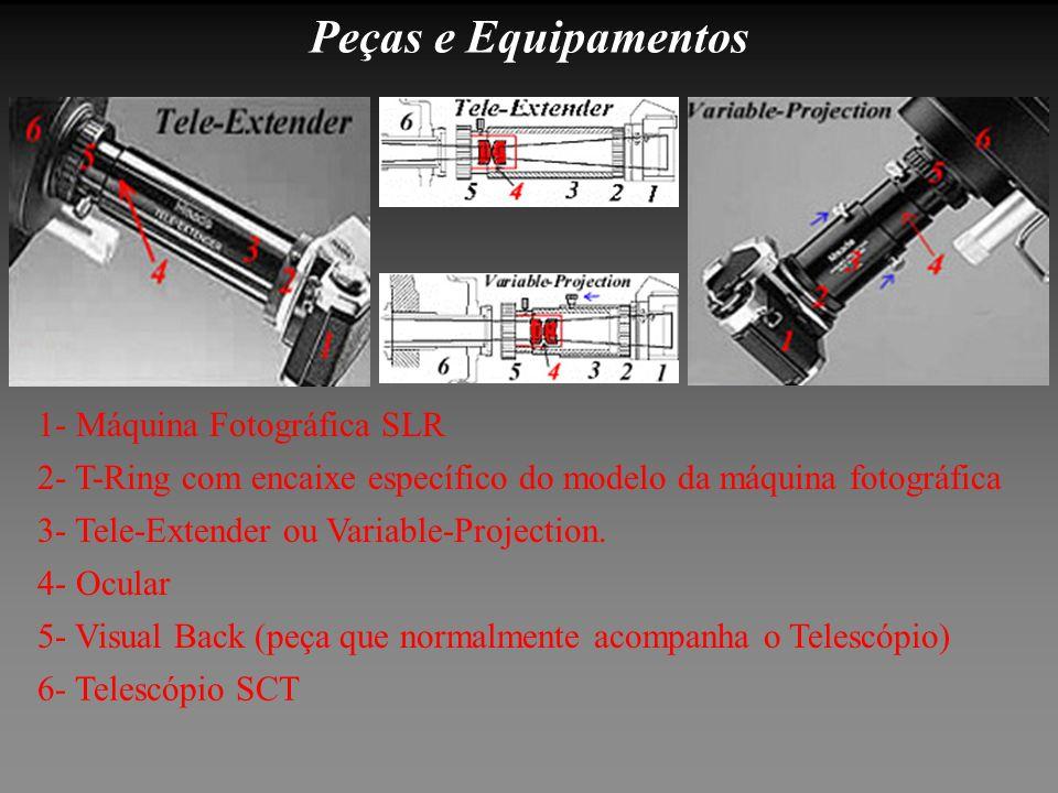 Peças e Equipamentos 6- Telescópio SCT 5- Visual Back (peça que normalmente acompanha o Telescópio) 4- Ocular 3- Tele-Extender ou Variable-Projection.