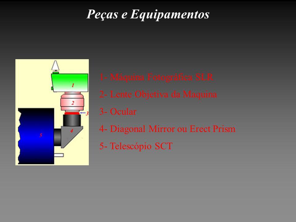 Peças e Equipamentos 5- Telescópio SCT 4- Diagonal Mirror ou Erect Prism 3- Ocular 2- Lente Objetiva da Maquina 1- Máquina Fotográfica SLR