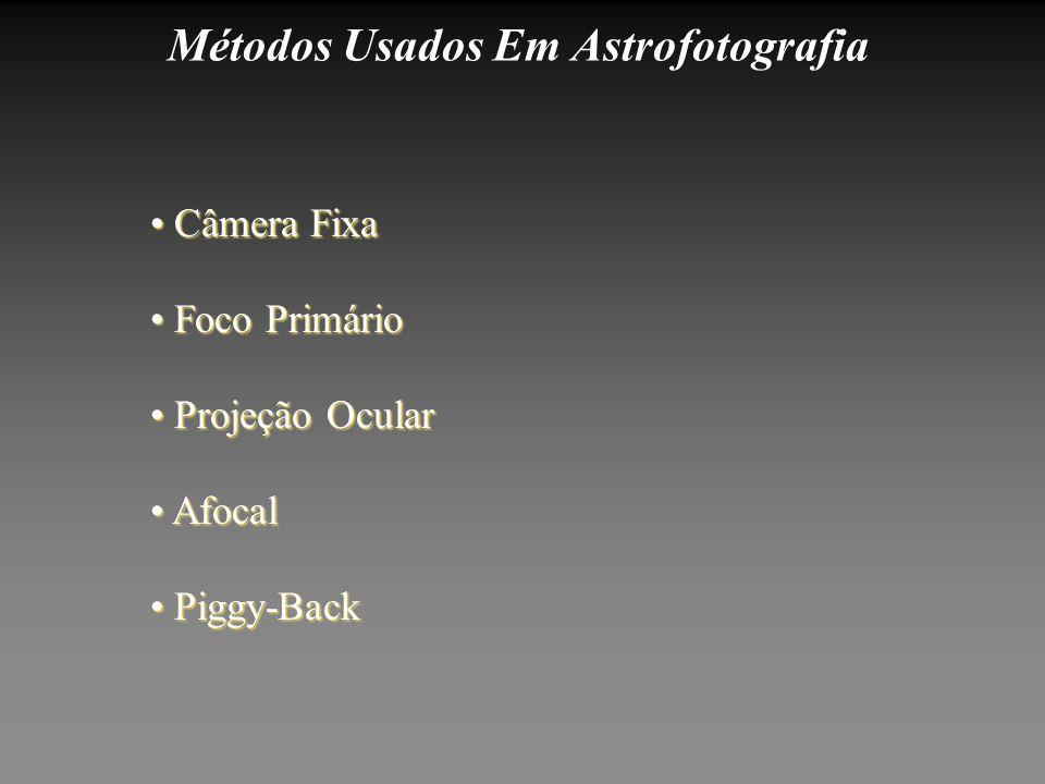 Métodos Usados Em Astrofotografia Piggy-Back Piggy-Back Afocal Afocal Projeção Ocular Projeção Ocular Foco Primário Foco Primário Câmera Fixa Câmera F