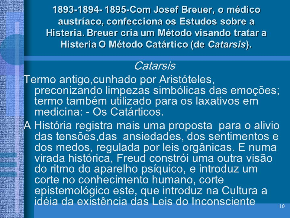 10 1893-1894- 1895-Com Josef Breuer, o médico austríaco, confecciona os Estudos sobre a Histeria. Breuer cria um Método visando tratar a Histeria O Mé