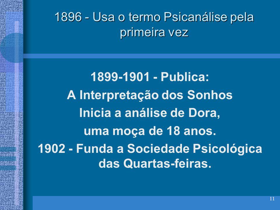11 1896 - Usa o termo Psicanálise pela primeira vez 1899-1901 - Publica: A Interpretação dos Sonhos Inicia a análise de Dora, uma moça de 18 anos. 190