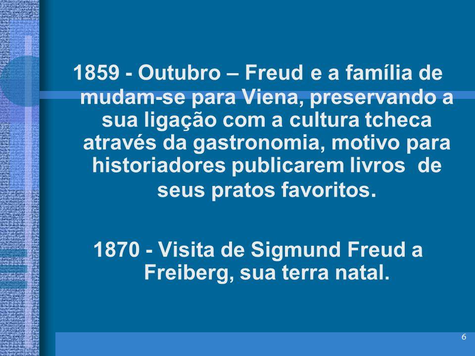 6 1859 - Outubro – Freud e a família de mudam-se para Viena, preservando a sua ligação com a cultura tcheca através da gastronomia, motivo para histor