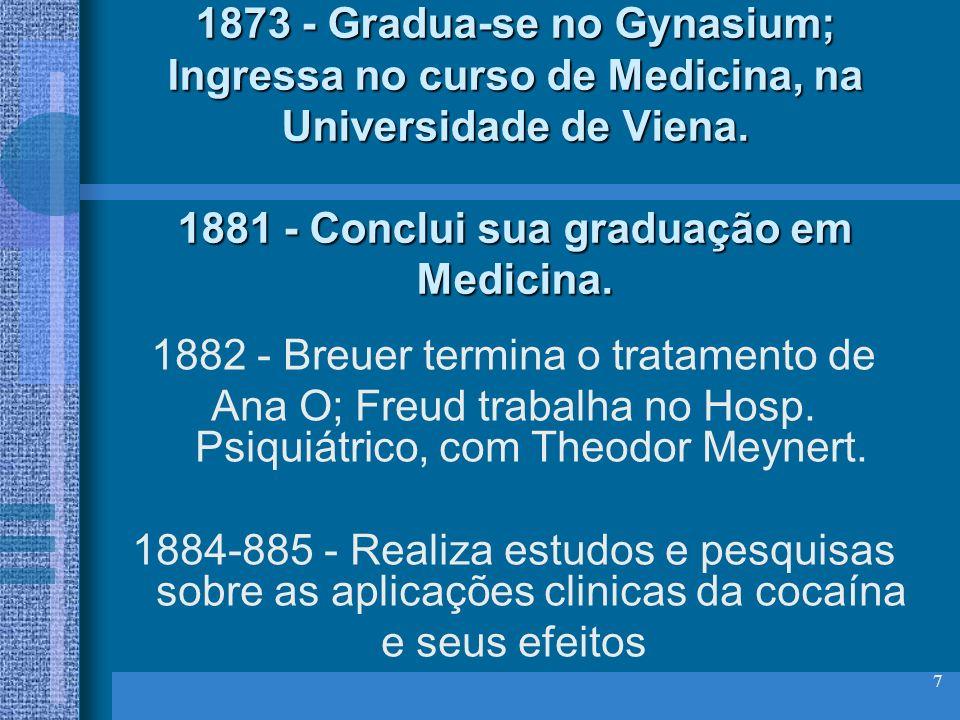 7 1873 - Gradua-se no Gynasium; Ingressa no curso de Medicina, na Universidade de Viena. 1881 - Conclui sua graduação em Medicina. 1882 - Breuer termi