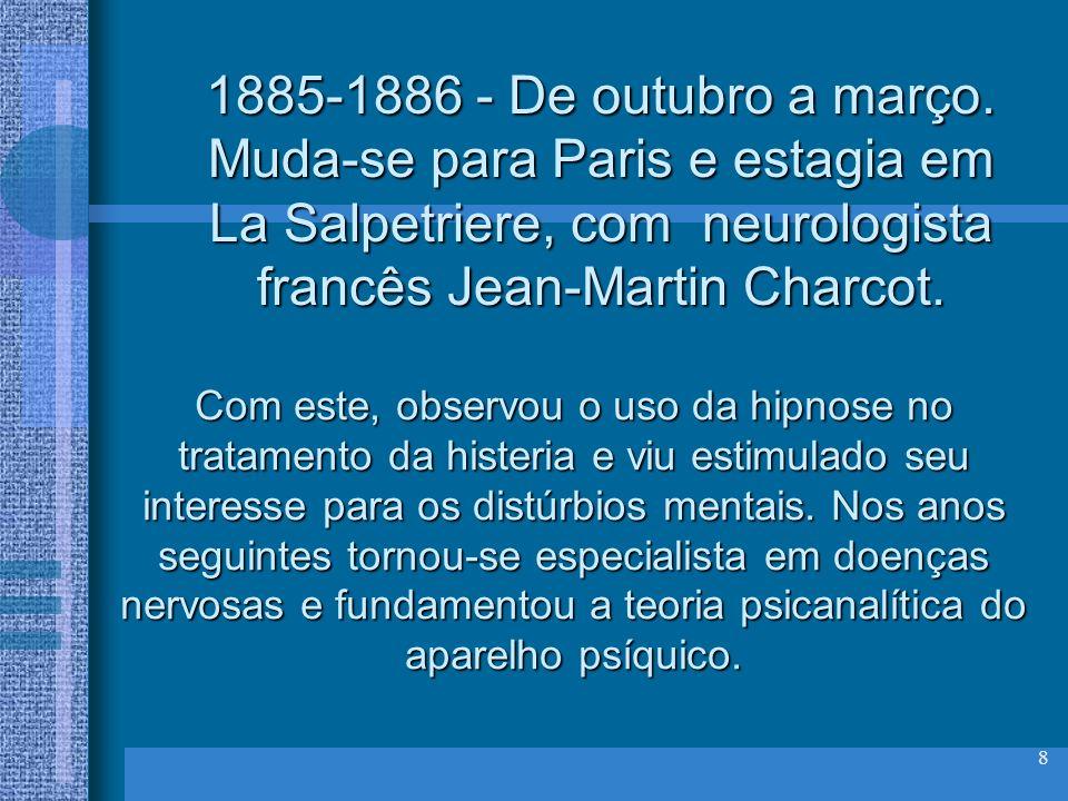 8 1885-1886 - De outubro a março. Muda-se para Paris e estagia em La Salpetriere, com neurologista francês Jean-Martin Charcot. Com este, observou o u