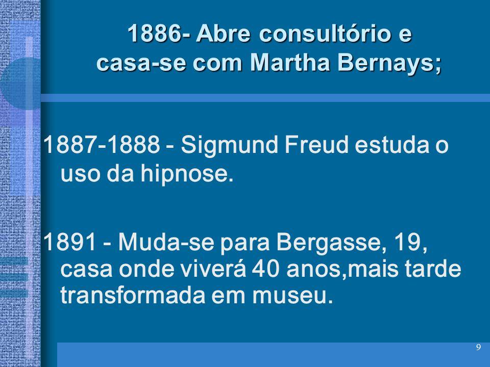 9 1886- Abre consultório e casa-se com Martha Bernays; 1887-1888 - Sigmund Freud estuda o uso da hipnose. 1891 - Muda-se para Bergasse, 19, casa onde