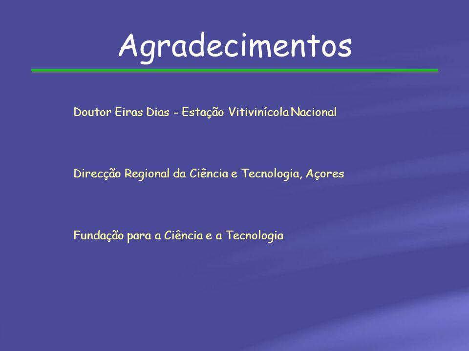Agradecimentos Doutor Eiras Dias - Estação Vitivinícola Nacional Direcção Regional da Ciência e Tecnologia, Açores Fundação para a Ciência e a Tecnolo