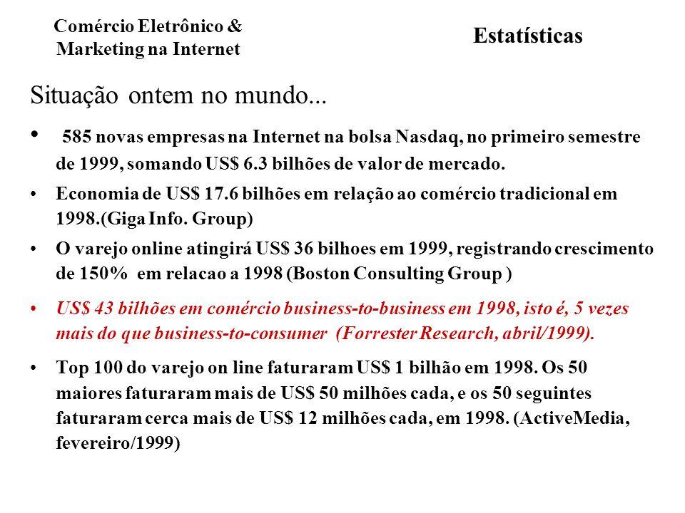 Estatísticas Situação ontem no mundo... 585 novas empresas na Internet na bolsa Nasdaq, no primeiro semestre de 1999, somando US$ 6.3 bilhões de valor